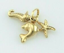 9ct Yellow Gold Seaside Beach Charm / Pendant with Dolphin, Starfish & Seahorse