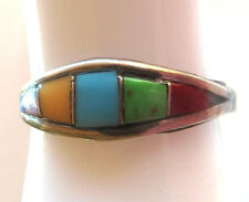 "Sterling silver gemstone inlay ring, size 7,  1.6 grams, 3/8"" wide"