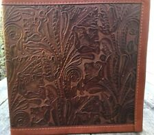 """CHOCOLATE WESTERN FLORAL EMBOSSED COWHIDE LEATHER 2"""" 3 RING"""
