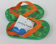 Jumping Beans Child Flip Flops 6/7 Green Safari Animals Monkey Lion Bird NWT