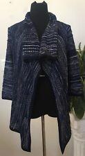 St. John Blue Wool Blend Draped Collar Sweater Cardigan Size S EUC! MSRP $1,150