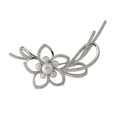 Sterling silver brooch with 4-5mm and 8-9mm white freshwater pearls BR-07