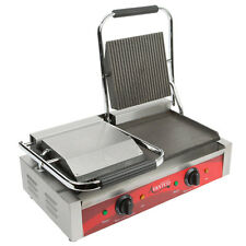 NEW! Avantco P88SG Double Grooved Commercial Counter Panini Press Sandwich Grill