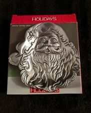 SANTA CLAUS CANDY DISH SILVER METAL OPENED BOX BRAND NEW!!!!
