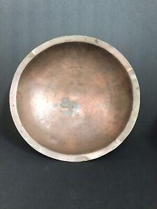 "Copper Pedestal Bowl Dish Rustic Centerpiece All metal 12.5"" wide Distressed"