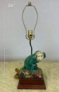 Hand Made Porcelain Capuchin Monkey Figurine Lamp