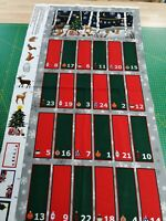 cotton fabric Panel quilting Christmas Advent calendar reindeer tree