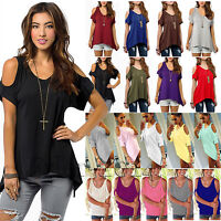 Women Cold Shoulder Loose Top Ladies Short Sleeves Blouse Tops T-Shirt Plus Size