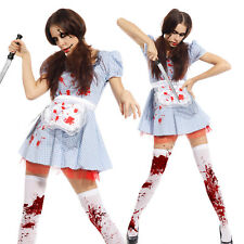 Ladies Zombie Dead Dorothy Horror Halloween Fancy Dress Outfit Costume