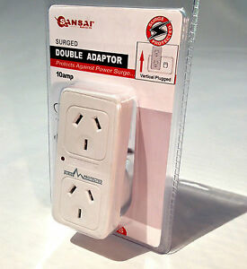 SURGE PROTECTED DOUBLE ADAPTOR PLUG - Vertical, Flat Panel - 240V AC Power