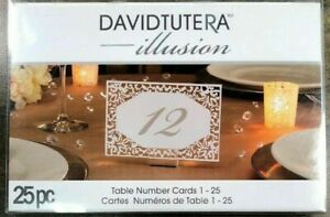 """Table Number 1-25  6"""" Wedding David Tutera 25 pc Place Die Cut Lace Cards"""