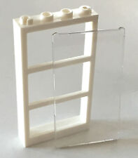 *NEW* Lego 1x4x6 WHITE DOOR FRAME with 3 PANES and TRANS CLEAR GLASS 57894