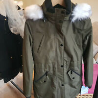 HFX Winter Womans Padded Jacket Green Olive XS Lined Ski Wear Pockets Faux Fur