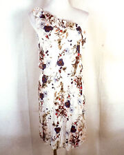 euc Kensie Pieces Floral rayon Abstract One Shoulder Dress sz M
