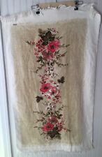Vintage Floral Bath Towel With Fringe 43�x25� Pink Brown *Read Description* Nwot