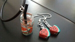 A Fun Set  Polymer Clay Watermelon Earrings and Glass Drink Necklace SUMMER FUN