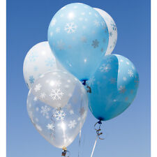 Uninflated Snowflakes Round Latex Balloon Pack Of 10 Mixed Balloons