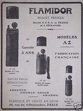 PUBLICITÉ 1916 FLAMIDOR LE BRIQUET PARISIEN MODÈLE AZ - ADVERTISING