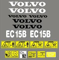 Decal Sticker set. VOLVO EC15B. Mini Digger Pelle Bagger Excavator