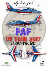 """[FFSMC Productions] Decals Patrouille de France Alphajet """"PAF US Tour"""" 2017 1/48"""