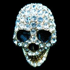 Fashion RING skull face crystal rhinestone finger glaze gold punk gothic NEW