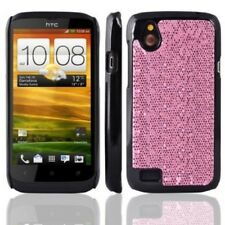 Pink Glitter Bling Disco Hard Fitted Case Cover HTC Desire V T328w Stocking Fill