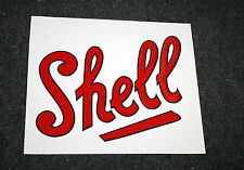 1920's style Shell script text self-adhesive vinyl decal suit petrol bowser