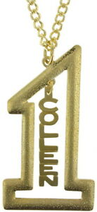 """Vintage Gold Tone Number #1 Name Plate Pendant 2 1/2"""" + Necklace 22"""" - Colleen"""