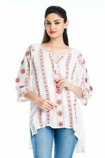 Women's Tunic Plus Size Embroidered Cotton Casual Mini T-shirt Blouse Top Shirts