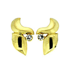 STUNNING 18K YELLOW GOLD PLATED GENUINE CLEAR AUSTRIAN CRYSTAL CLIP-ON EARRINGS