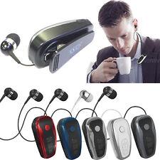 Clip On Bluetooth Headset Headphone Wireless Retractable Stereo Earbud Earphone