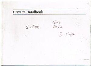 JAGUAR S-TYPE 3.0 V6 & 4.0 V8 PETROL ORIGINAL 2000 OWNER INSTRUCTION HANDBOOK