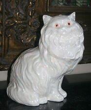 Vintage Persian Cat Glazed Large Ceramic Sitting Figurine, Rare Iridescent Color