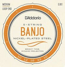 D'Addario EJ61 5-String Banjo, Nickel, Medium, 10-23 Loop End
