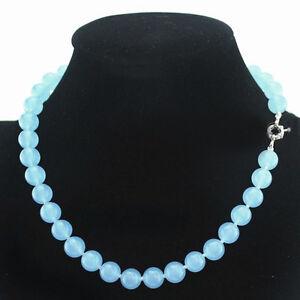 6mm 8mm 10mm 12mm 14mm Brazilian Aquamarine Gemstones Round Beads Necklace AAA