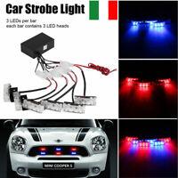 Auto Camion 18 LED Strobo Torcia Emergenza Luce Avviso Segnale Lampada Rosso&Blu