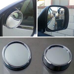Bmw Audi Acura Chrome Blind Spot Side Convex Mirror 360 Rotation Adjusment Pair
