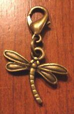 charm's breloque mousqueton libellule 15x13 mm couleur bronze