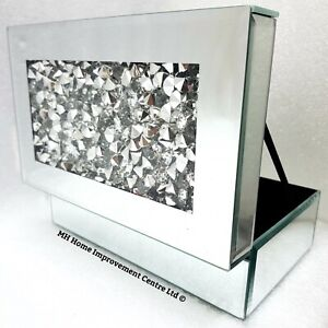 Sparkly Diamond Crush Crystal Silver Mirrored Decorative Jewellery Trinket Box