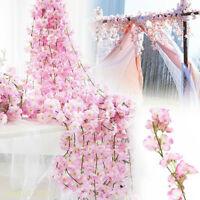 2M Artificial Cherry Rattan Fake Flower Hanging Wedding Decor Garland Pl Cw