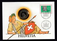 Helvetia Swiss Switzerland Stamp & 1986 Coin on 1987 Cover