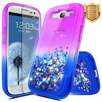For Samsung Galaxy S3   Glitter Liquid Bling TPU Case Cover + Screen Protector