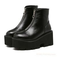 Motorcycle Punk Gothic Womens Platform Front Zip Combat Shoes Ankle Boots Hot