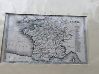 FRANCE ANTIQUE MID 19th CENTURY MAP BY T STARLING IN BLACK AND WHITE
