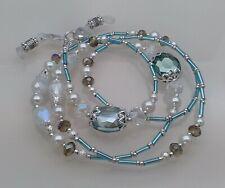 Spectacle Sunglasses Eyewear Beaded Chain – Aquamarine Crystal & Silver
