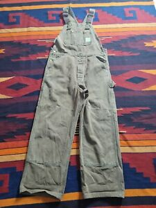 VINTAGE CARHARTT Brown, SIZE 32X28 Utility Work Overalls MADE In USA.