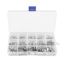 700Pcs 10-22AWG Copper Ferrule Non-Insulated Wire Strip Pin Assortment Kit ams