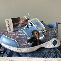 Frozen 2 Girls Sneakers shoes with lights Blue Elsa Ana New size 9 Disney