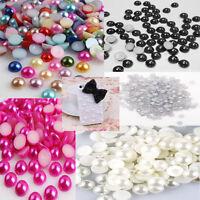 2000pcs Half Round Bead Flat Back Acrylic Pearl Scrapbooking Embellishment 4mm t