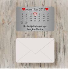 Personalised  Day I fell in love with you Metal Wallet Card Boyfriend/Girlfriend